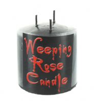Small Pillar Weeping Rose Black Candle with Triple Wicks